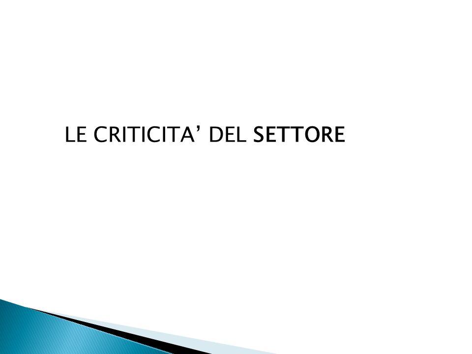 LE CRITICITA' DEL SETTORE