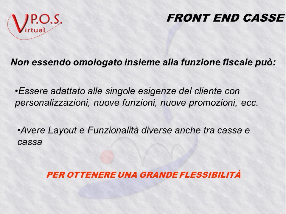 FRONT END CASSE Essere adattato alle singole esigenze del cliente con personalizzazioni, nuove funzioni, nuove promozioni, ecc.