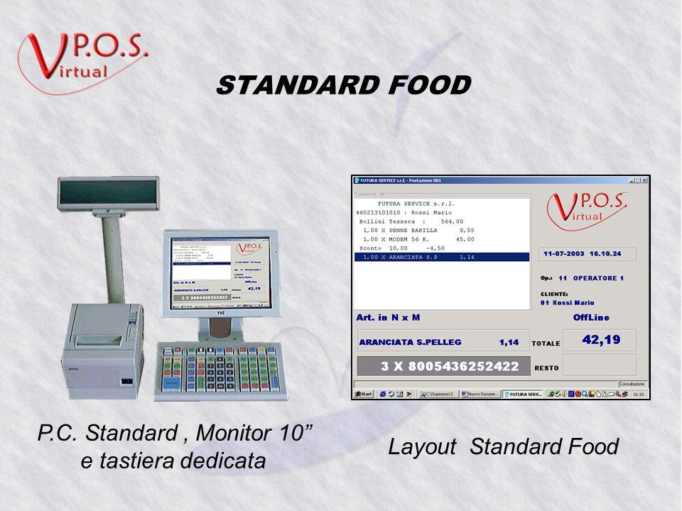 STANDARD FOOD P.C. Standard, Monitor 10 e tastiera dedicata Layout Standard Food