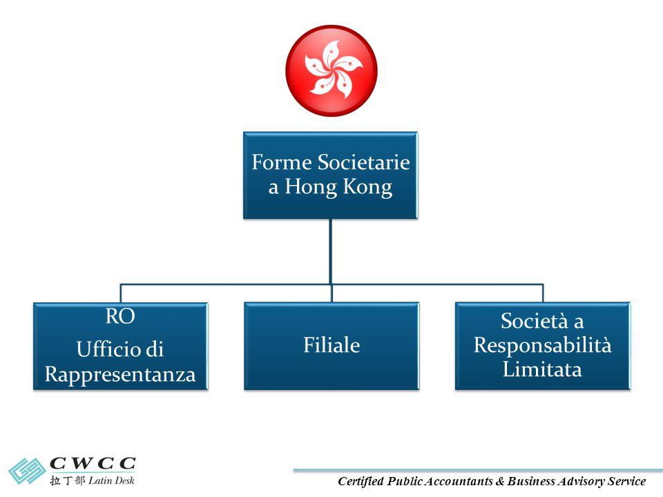 Certified Public Accountants & Business Advisory Service Forme Societarie a Hong Kong RO Ufficio di Rappresentanza Filiale Società a Responsabilità Limitata