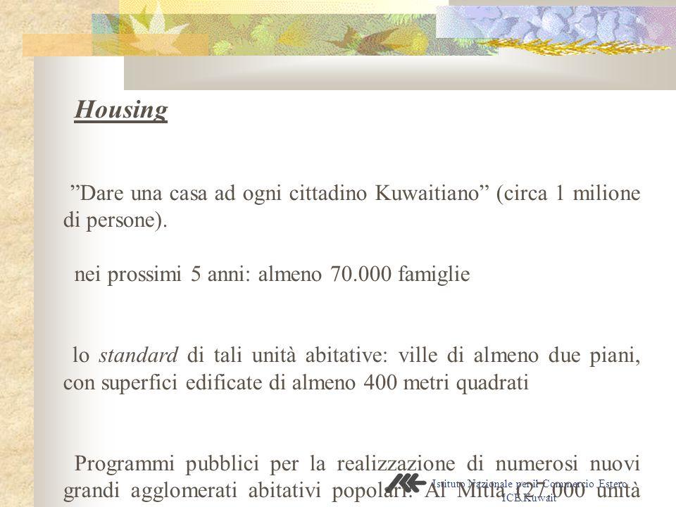 Istituto Nazionale per il Commercio Estero ICE Kuwait Housing - Dare una casa ad ogni cittadino Kuwaitiano (circa 1 milione di persone).