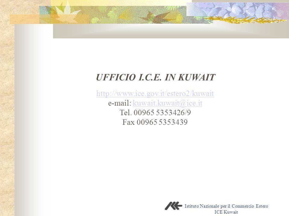 Istituto Nazionale per il Commercio Estero ICE Kuwait UFFICIO I.C.E. IN KUWAIT http://www.ice.gov.it/estero2/kuwait e-mail: kuwait.kuwait@ice.itkuwait