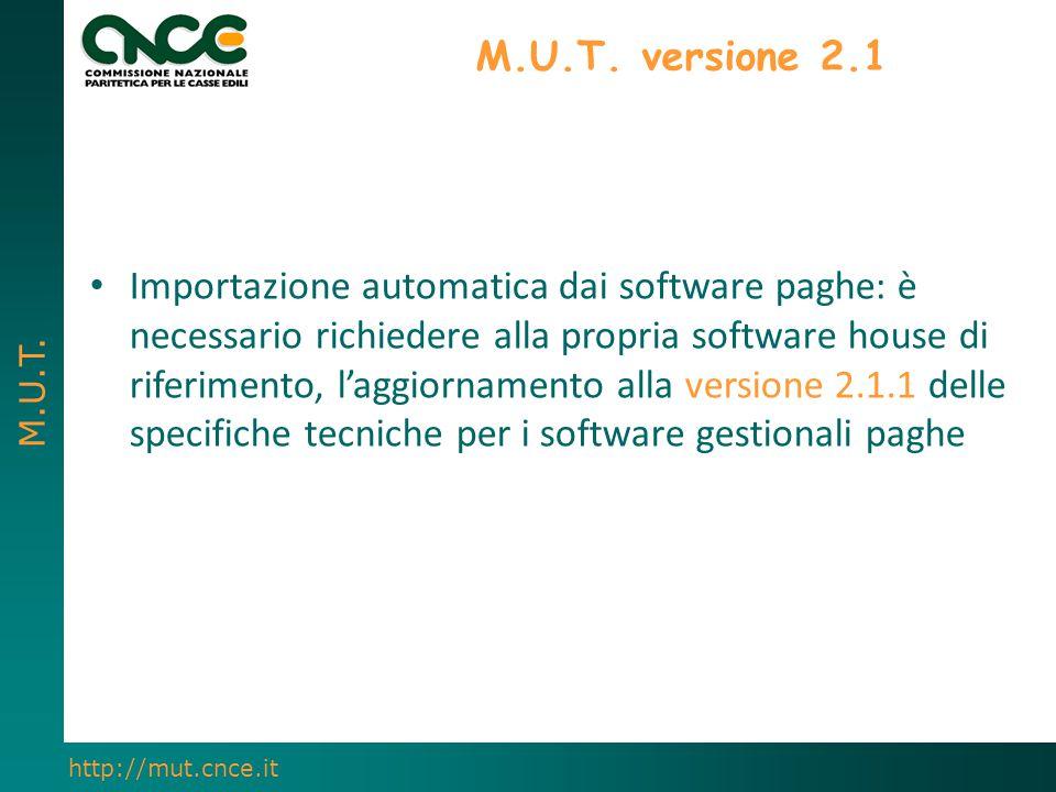 M.U.T. http://mut.cnce.it M.U.T. versione 2.1 Importazione automatica dai software paghe: è necessario richiedere alla propria software house di rifer
