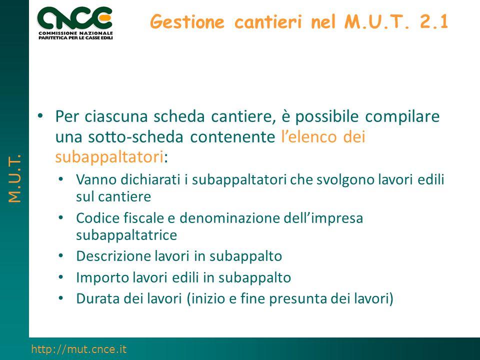 M.U.T. http://mut.cnce.it Gestione cantieri nel M.U.T. 2.1 Per ciascuna scheda cantiere, è possibile compilare una sotto-scheda contenente l'elenco de