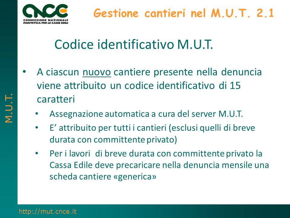 M.U.T. http://mut.cnce.it Gestione cantieri nel M.U.T. 2.1 A ciascun nuovo cantiere presente nella denuncia viene attribuito un codice identificativo