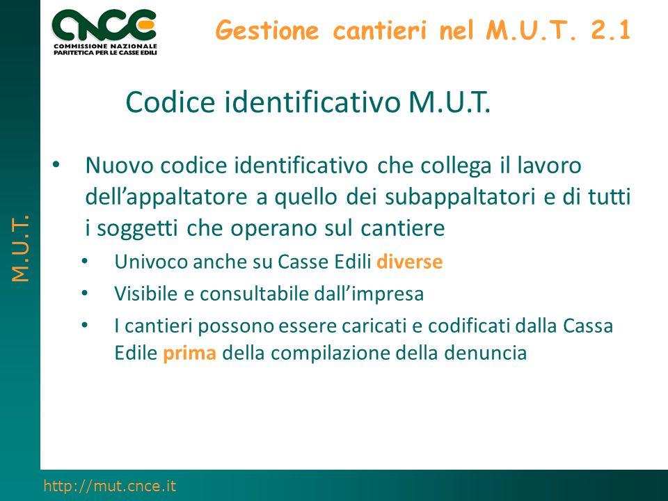 M.U.T. http://mut.cnce.it Gestione cantieri nel M.U.T. 2.1 Nuovo codice identificativo che collega il lavoro dell'appaltatore a quello dei subappaltat