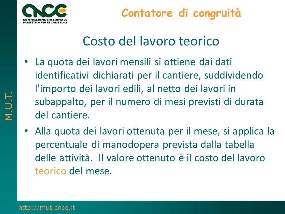 M.U.T. http://mut.cnce.it Contatore di congruità La quota dei lavori mensili si ottiene dai dati identificativi dichiarati per il cantiere, suddividen