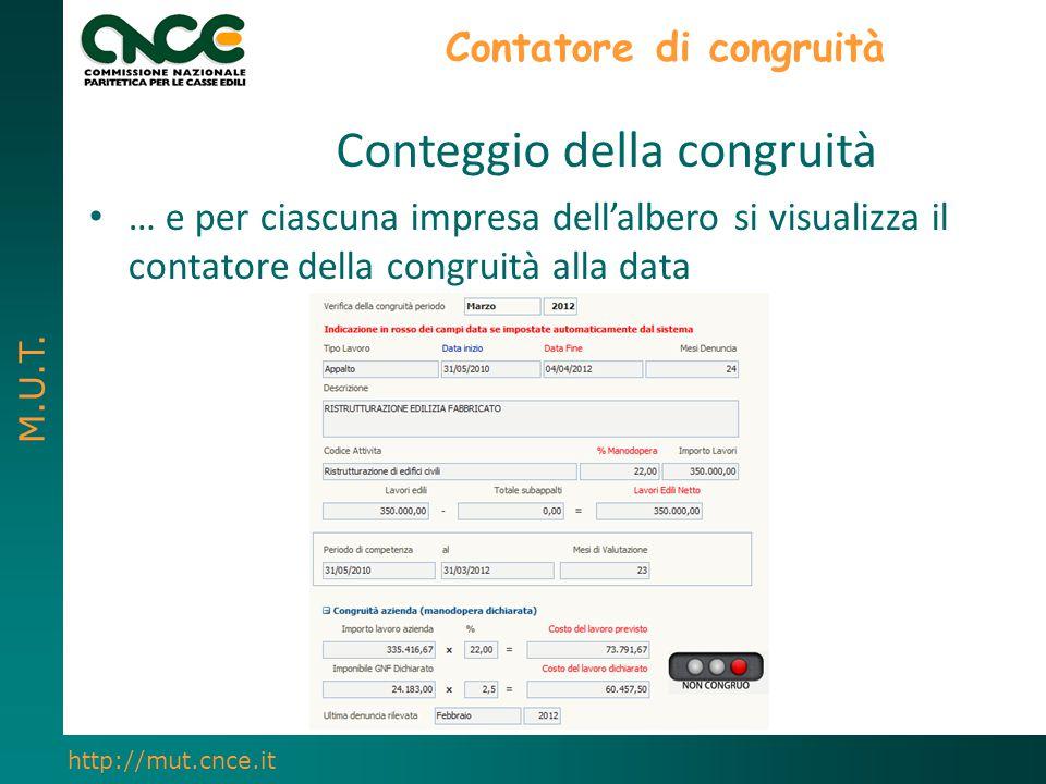 M.U.T. http://mut.cnce.it Contatore di congruità Conteggio della congruità … e per ciascuna impresa dell'albero si visualizza il contatore della congr
