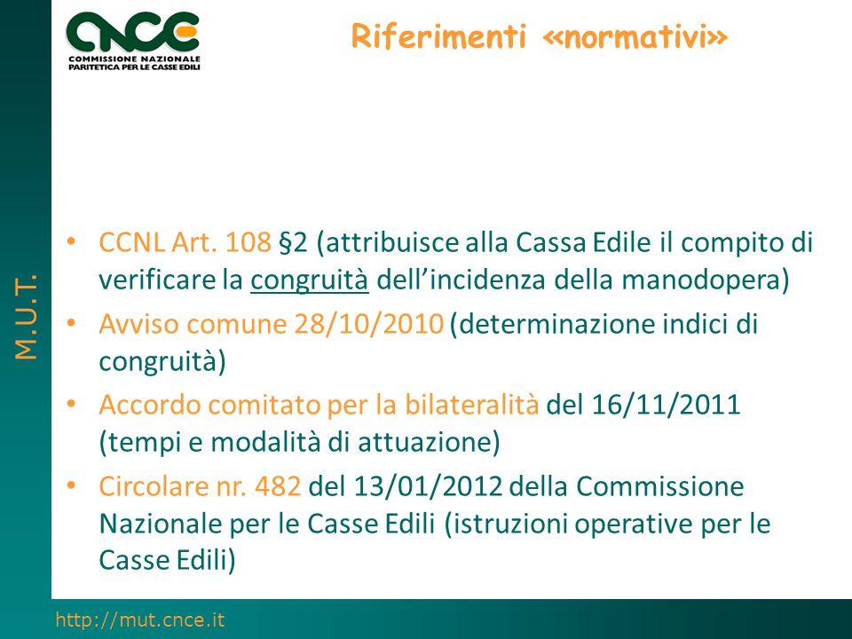 M.U.T. http://mut.cnce.it Riferimenti «normativi» CCNL Art. 108 §2 (attribuisce alla Cassa Edile il compito di verificare la congruità dell'incidenza