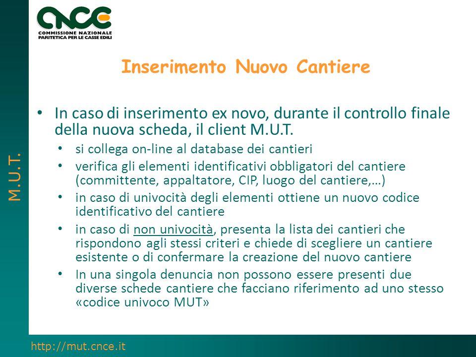 M.U.T. http://mut.cnce.it Inserimento Nuovo Cantiere In caso di inserimento ex novo, durante il controllo finale della nuova scheda, il client M.U.T.