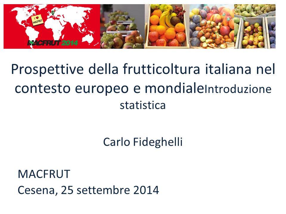 Prospettive della frutticoltura italiana nel contesto europeo e mondiale Introduzione statistica MONDOMONDO 000t% + 16.896+ 29,4 + 6.903+ 41,7 + 442+ 43,8 - 1.994- 11,9 - 178- 5,6 + 156+ 30,6 - 141- 1,9 - 155- 16,9 + 59+ 16,9 (*) 000t : elaborazione dati FAOSTAT ITALIAITALIA EUROPAEUROPA Variazioni Ṁ 2000-2002 vs Ṁ 2010-2012 Produzione (*) pomacee e kiwi //