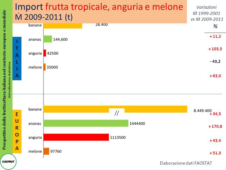 % + 11,2 + 103,5 - 43,2 + 63,0 + 34,5 + 170,8 + 43,4 + 51,3 Prospettive della frutticoltura italiana nel contesto europeo e mondiale Introduzione statistica ITALIAITALIA EUROPAEUROPA Import frutta tropicale, anguria e melone Ṁ 2009-2011 (t) // Variazioni Ṁ 1999-2001 vs Ṁ 2009-2011 Elaborazione dati FAOSTAT