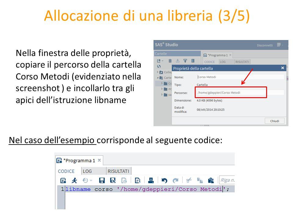 Allocazione di una libreria (3/5) Nella finestra delle proprietà, copiare il percorso della cartella Corso Metodi (evidenziato nella screenshot ) e in