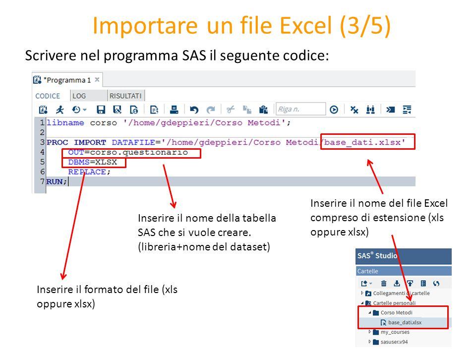 Importare un file Excel (3/5) Scrivere nel programma SAS il seguente codice: Inserire il nome della tabella SAS che si vuole creare. (libreria+nome de