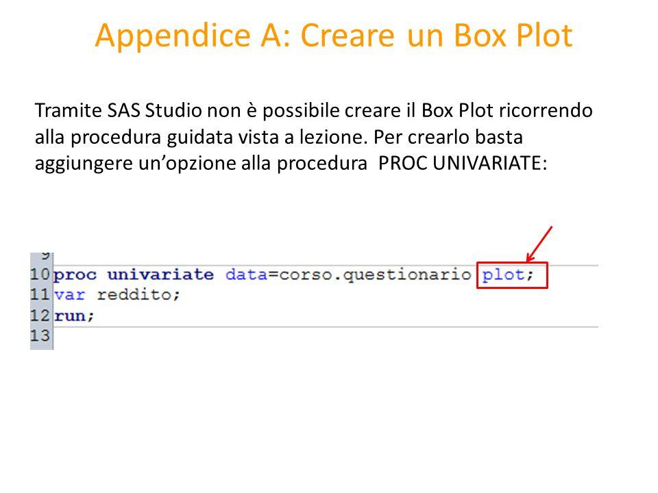 Appendice A: Creare un Box Plot Tramite SAS Studio non è possibile creare il Box Plot ricorrendo alla procedura guidata vista a lezione. Per crearlo b