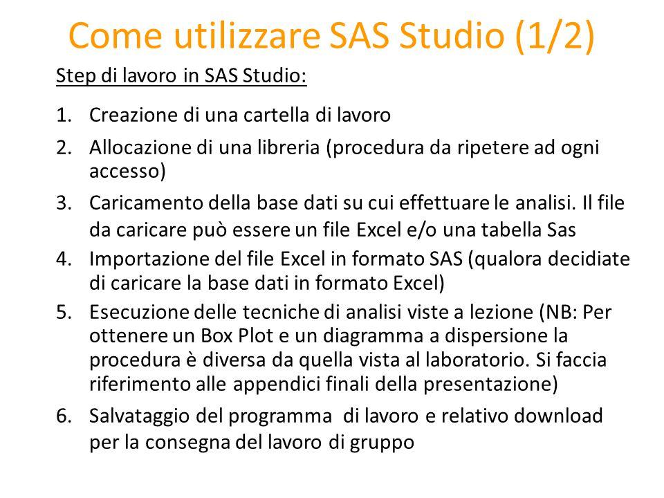 Come utilizzare SAS Studio (1/2) Step di lavoro in SAS Studio: 1.Creazione di una cartella di lavoro 2.Allocazione di una libreria (procedura da ripet