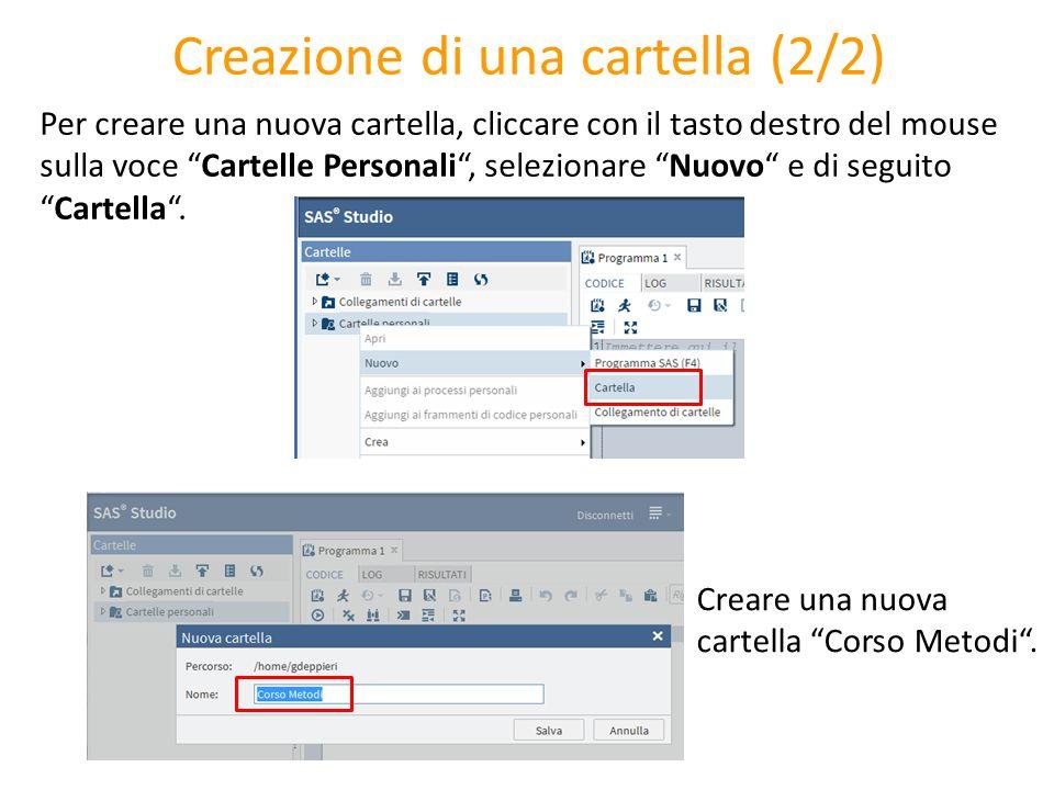 """Creazione di una cartella (2/2) Per creare una nuova cartella, cliccare con il tasto destro del mouse sulla voce """"Cartelle Personali"""", selezionare """"Nu"""