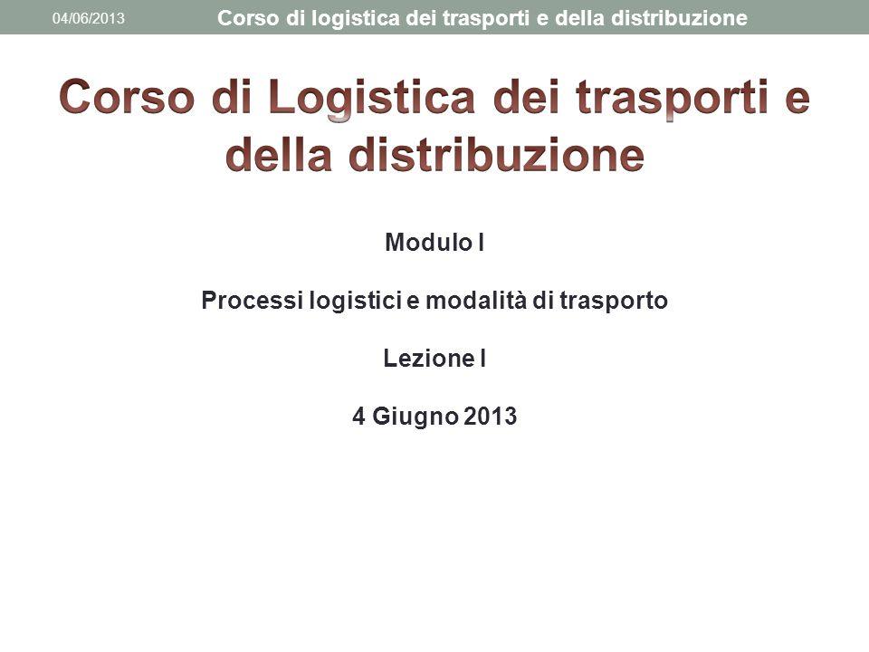 04/06/2013 Corso di logistica dei trasporti e della distribuzione Modulo I Processi logistici e modalità di trasporto Lezione I 4 Giugno 2013