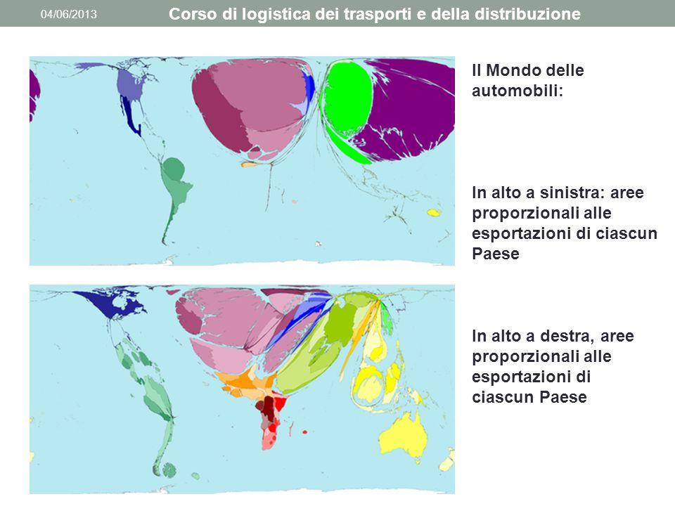 04/06/2013 Corso di logistica dei trasporti e della distribuzione Il Mondo delle automobili: In alto a sinistra: aree proporzionali alle esportazioni