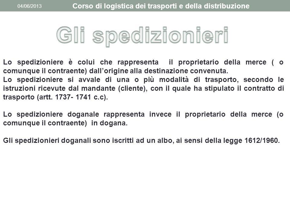 04/06/2013 Corso di logistica dei trasporti e della distribuzione Lo spedizioniere è colui che rappresenta il proprietario della merce ( o comunque il