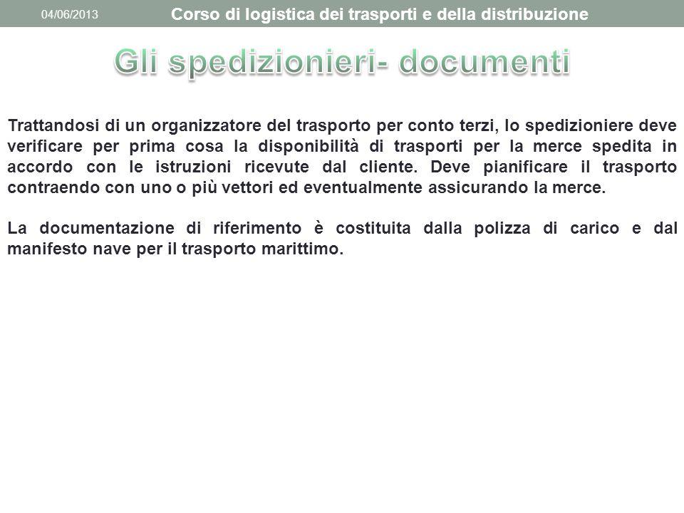 04/06/2013 Corso di logistica dei trasporti e della distribuzione Trattandosi di un organizzatore del trasporto per conto terzi, lo spedizioniere deve