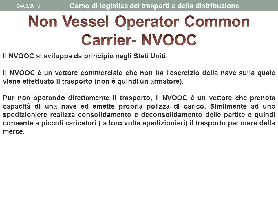 04/06/2013 Corso di logistica dei trasporti e della distribuzione Il NVOOC si sviluppa da principio negli Stati Uniti. Il NVOOC è un vettore commercia