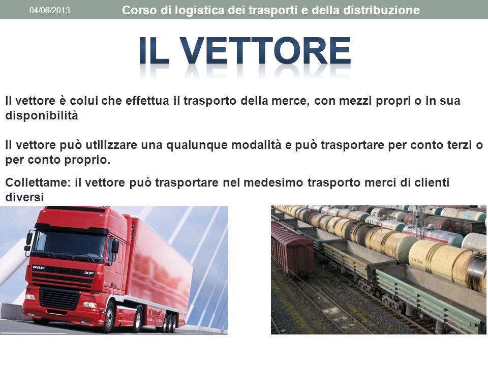 04/06/2013 Corso di logistica dei trasporti e della distribuzione Il vettore è colui che effettua il trasporto della merce, con mezzi propri o in sua