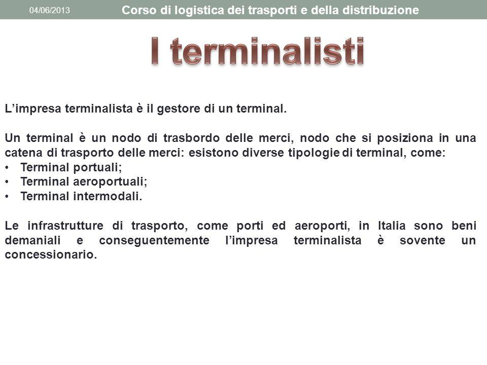 04/06/2013 Corso di logistica dei trasporti e della distribuzione L'impresa terminalista è il gestore di un terminal. Un terminal è un nodo di trasbor