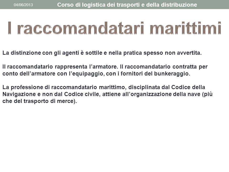 04/06/2013 Corso di logistica dei trasporti e della distribuzione La distinzione con gli agenti è sottile e nella pratica spesso non avvertita. Il rac