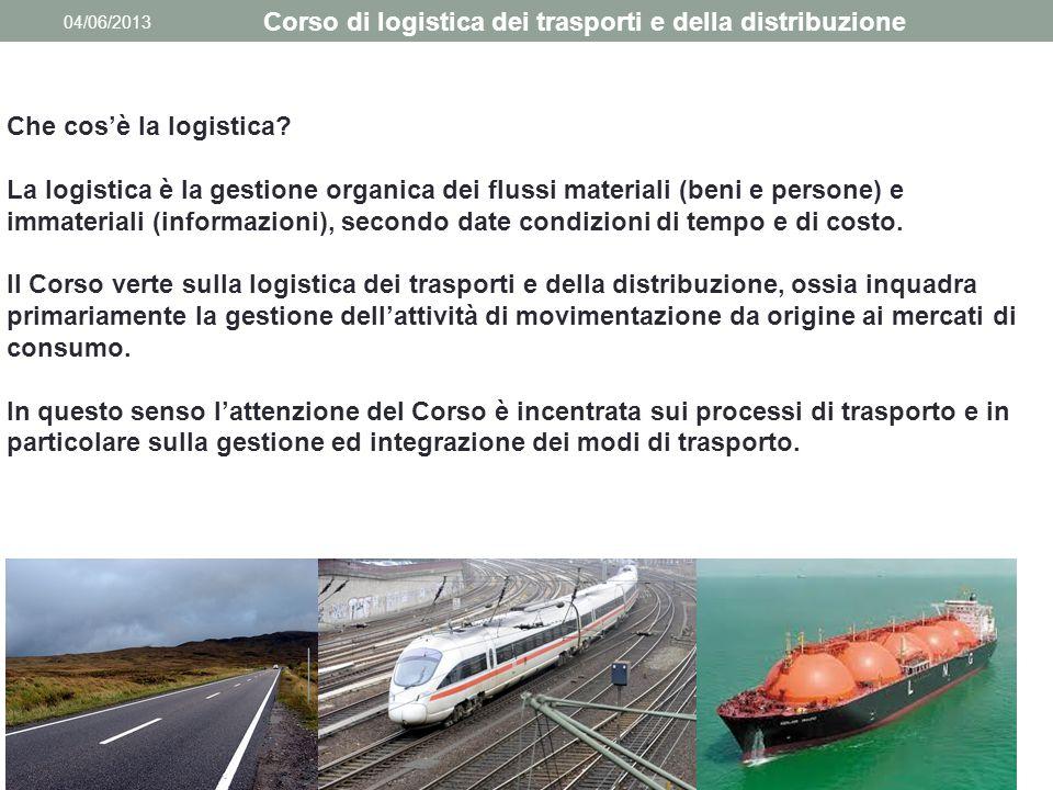 04/06/2013 Corso di logistica dei trasporti e della distribuzione Che cos'è la logistica? La logistica è la gestione organica dei flussi materiali (be