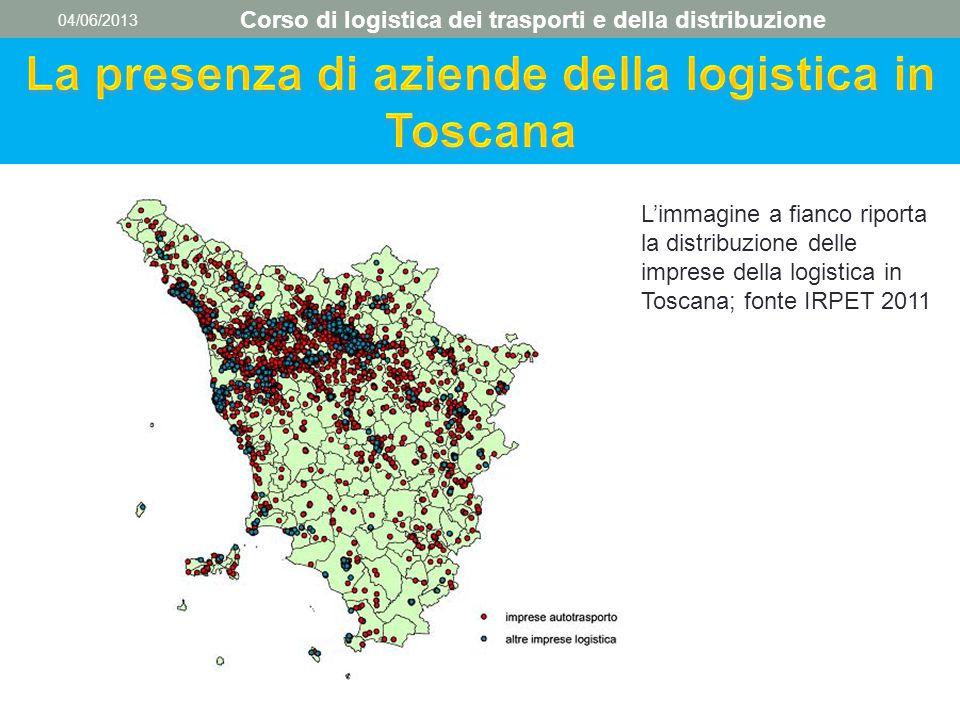 04/06/2013 Corso di logistica dei trasporti e della distribuzione L'immagine a fianco riporta la distribuzione delle imprese della logistica in Toscan