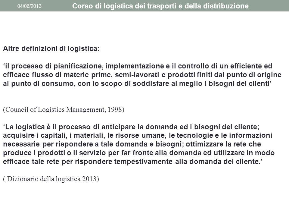 04/06/2013 Altre definizioni di logistica: 'il processo di pianificazione, implementazione e il controllo di un efficiente ed efficace flusso di mater