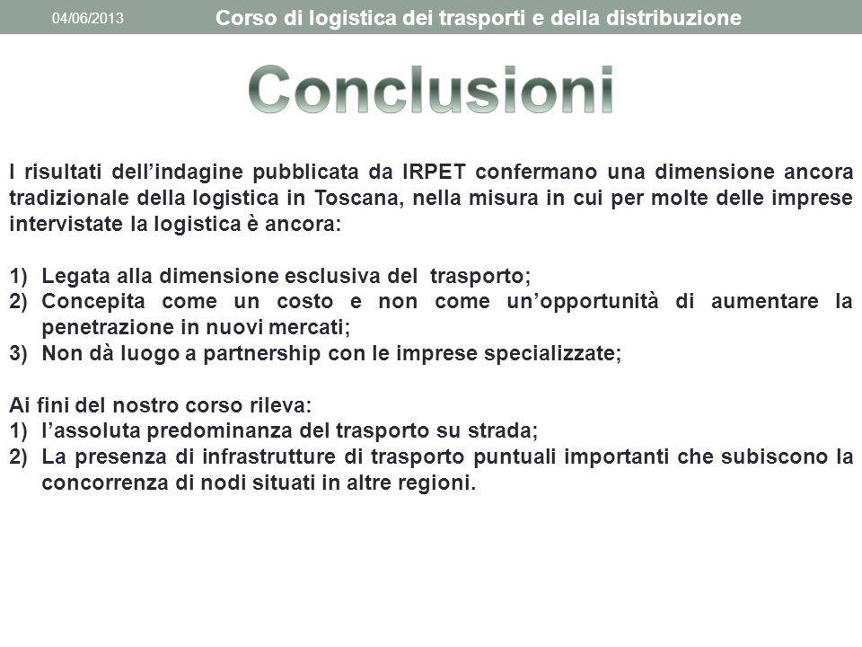 04/06/2013 Corso di logistica dei trasporti e della distribuzione I risultati dell'indagine pubblicata da IRPET confermano una dimensione ancora tradi