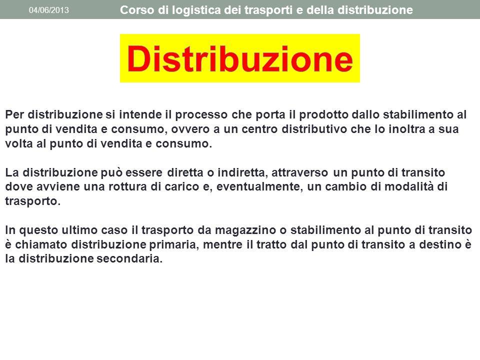 04/06/2013 Corso di logistica dei trasporti e della distribuzione Per distribuzione si intende il processo che porta il prodotto dallo stabilimento al