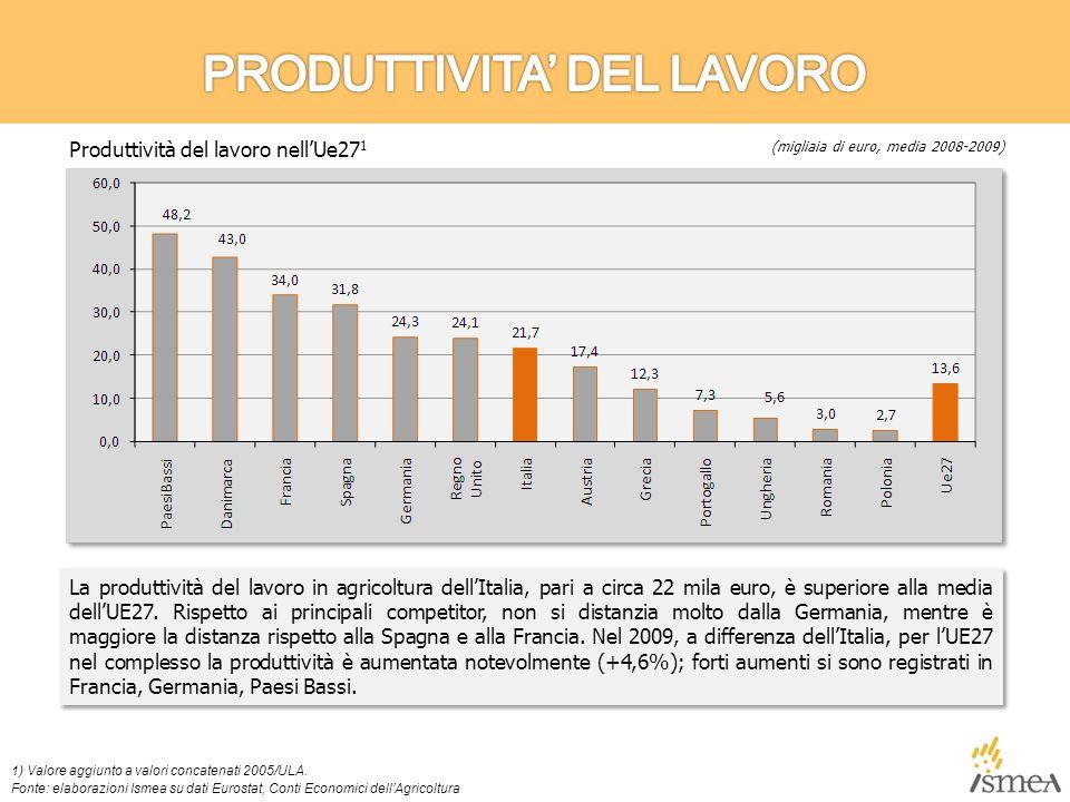 La produttività del lavoro in agricoltura dell'Italia, pari a circa 22 mila euro, è superiore alla media dell'UE27.