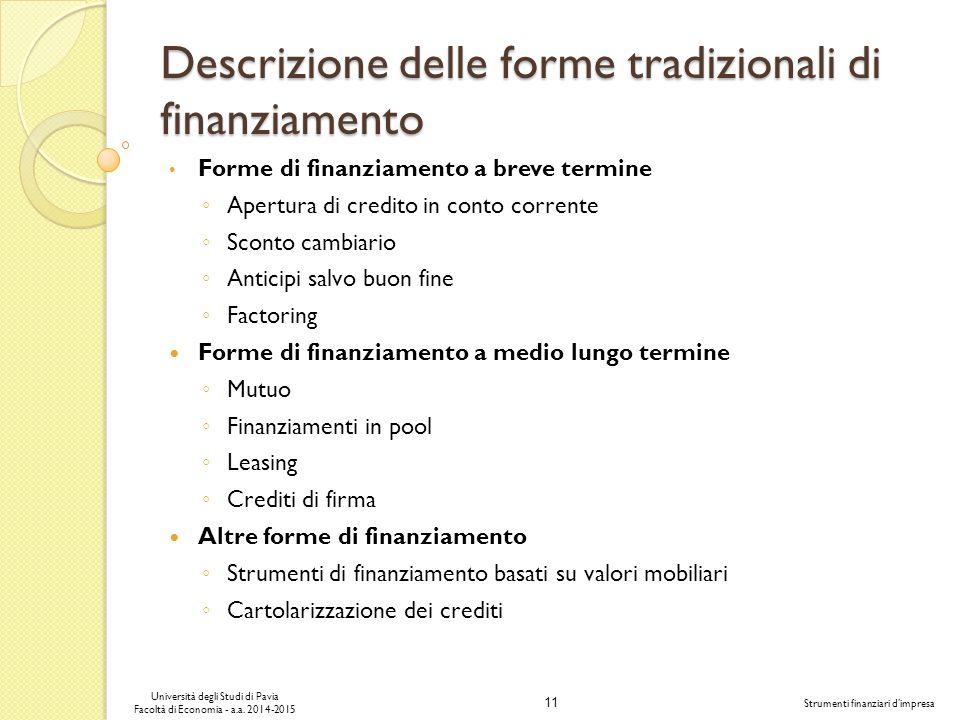 11 Università degli Studi di Pavia Facoltà di Economia - a.a.