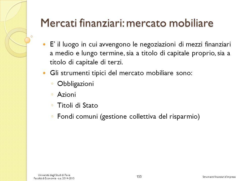 155 Università degli Studi di Pavia Facoltà di Economia - a.a.