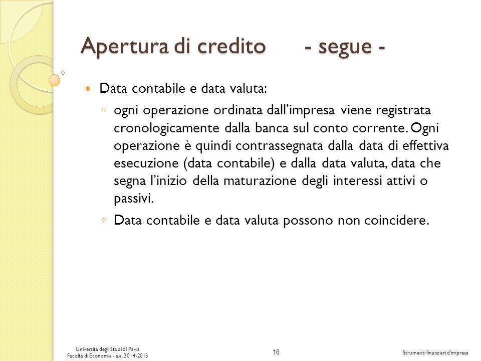 16 Università degli Studi di Pavia Facoltà di Economia - a.a.