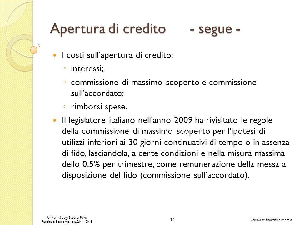 17 Università degli Studi di Pavia Facoltà di Economia - a.a.