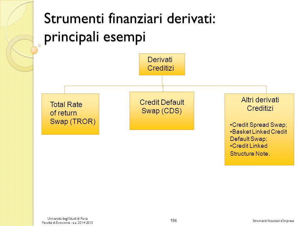194 Università degli Studi di Pavia Facoltà di Economia - a.a.