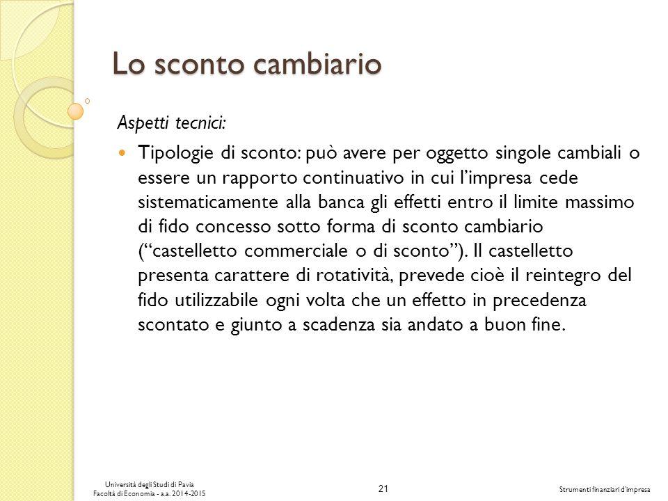 21 Università degli Studi di Pavia Facoltà di Economia - a.a.