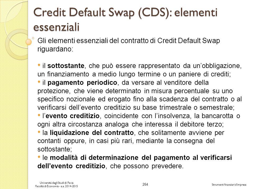 264 Università degli Studi di Pavia Facoltà di Economia - a.a.