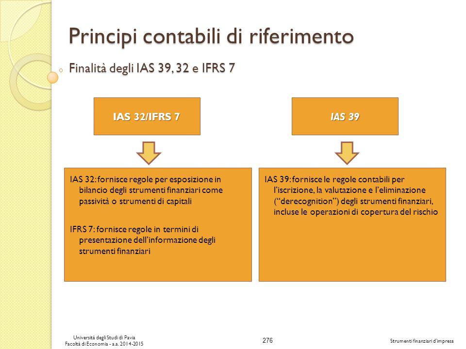 276 Università degli Studi di Pavia Facoltà di Economia - a.a.