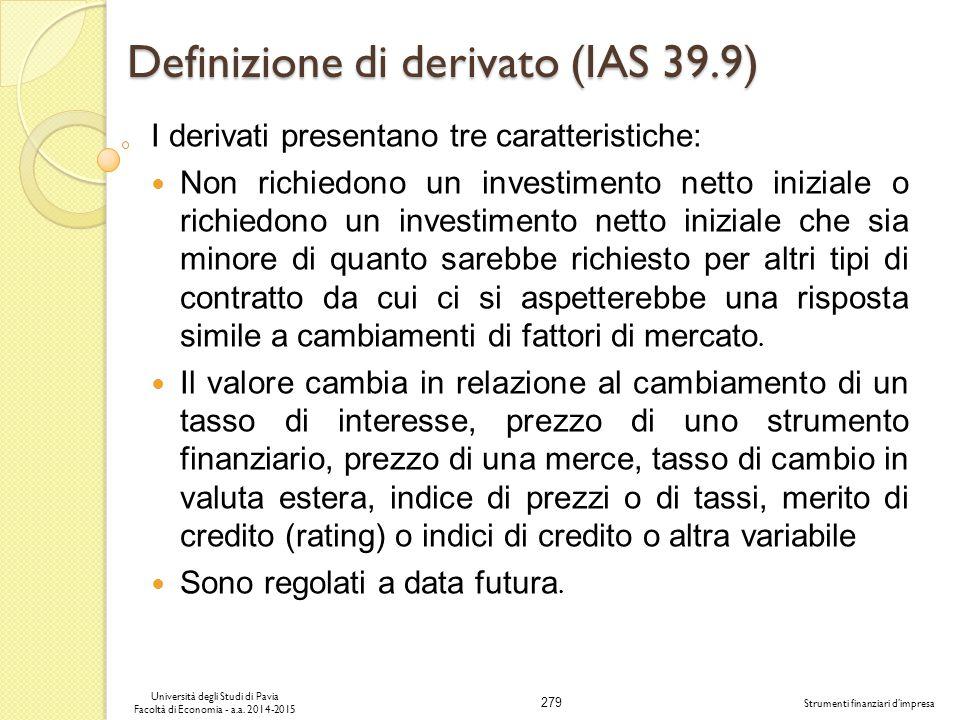 279 Università degli Studi di Pavia Facoltà di Economia - a.a.