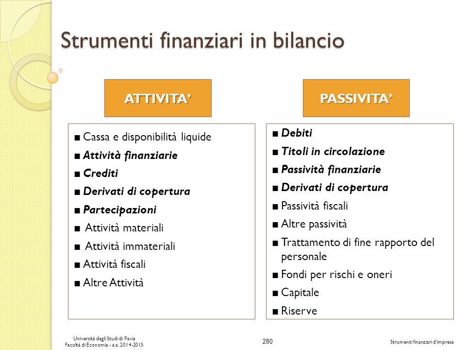 280 Università degli Studi di Pavia Facoltà di Economia - a.a.