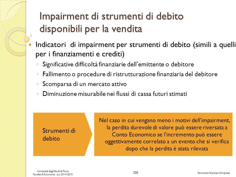 306 Università degli Studi di Pavia Facoltà di Economia - a.a.
