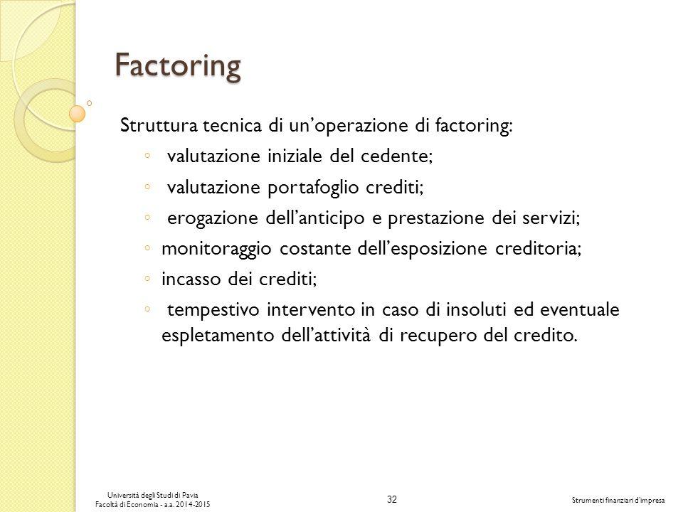 32 Università degli Studi di Pavia Facoltà di Economia - a.a.