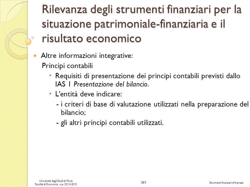 341 Università degli Studi di Pavia Facoltà di Economia - a.a.