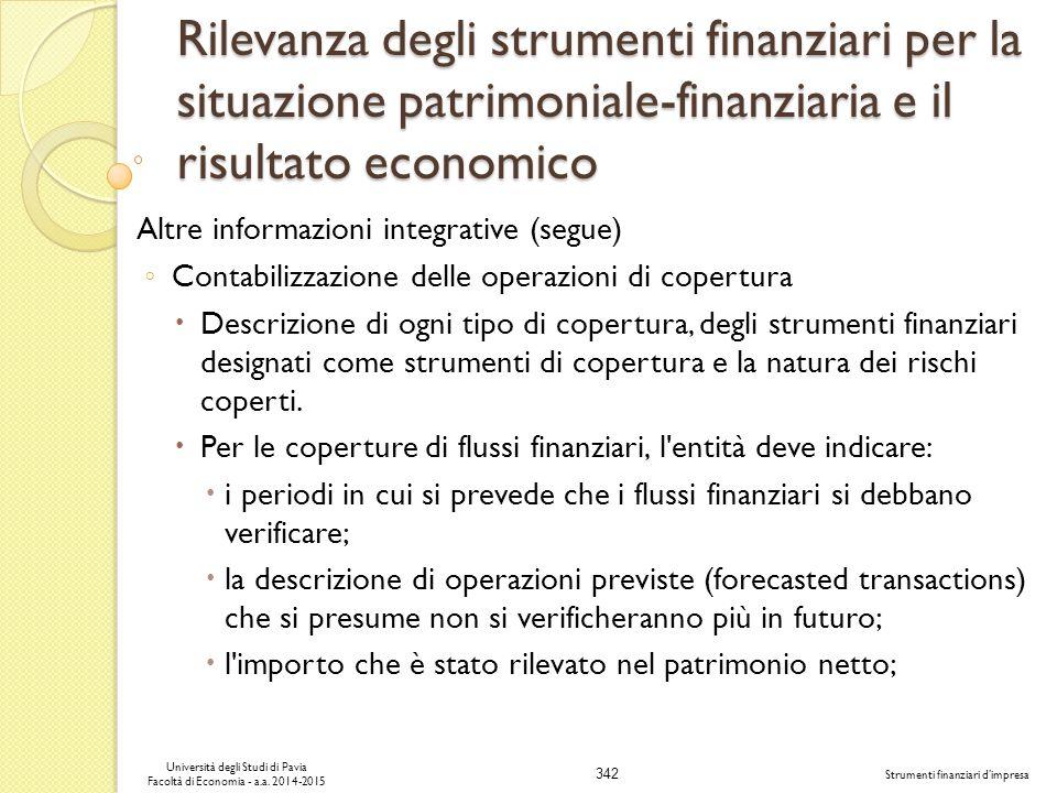 342 Università degli Studi di Pavia Facoltà di Economia - a.a.