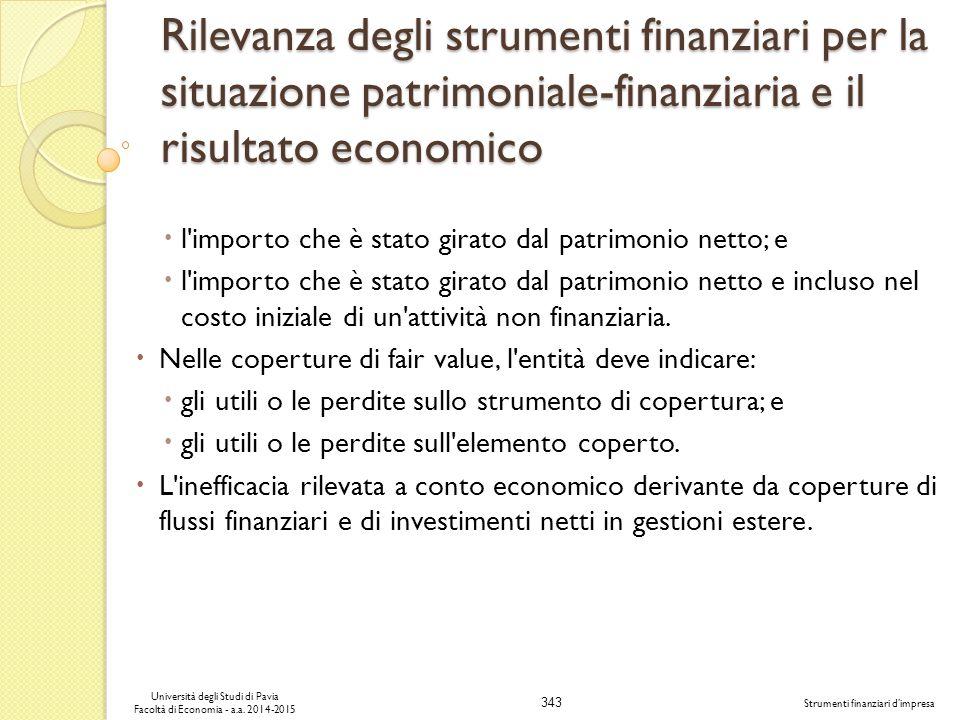 343 Università degli Studi di Pavia Facoltà di Economia - a.a.